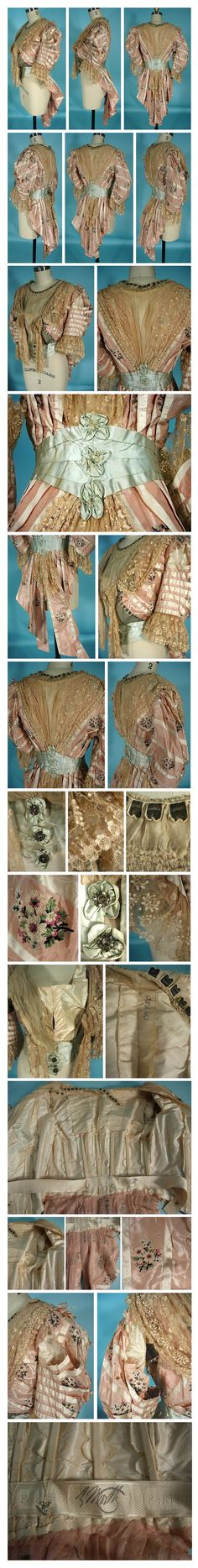 """c. 1900 HOUSE OF WORTH, Paris Pink Silk Print Taffeta! Bodice with Ecru Lace and Light Blue Waist with """"Tails"""" antiquedress.com"""