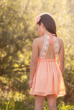A girl of any age would be beautiful in this! -- - -- 'Audrey' Dress in Peach Baby Girl Dresses, Baby Dress, Cute Dresses, Flower Girl Dresses, Summer Dresses, Little Girl Outfits, Little Girl Fashion, Kids Fashion, Kids Frocks
