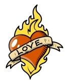 Love_symbols : Retro Love Tattoo with Heart, Flame and Vintage Banner - Vector Illustration