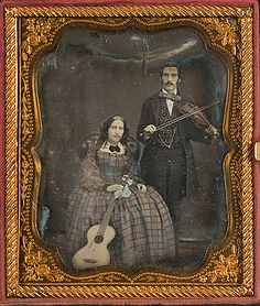 ca. 1850's, [portrait of a woman and a gentleman, holding their guitar and a violin respectively] via Cowan's Auctions