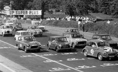 Saloon car racing :- Morris 1000, Austin A40's, Mini. Ford Anglia 105E, and Austin A35's.