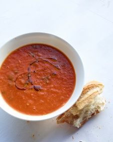 Roasted Tomato and Tarragon Soup.   Made it with basil the second time around. Yummy.