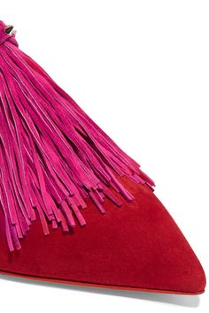 Christian Louboutin - Medinana Fringed Collapsible-heel Suede Slippers - Red