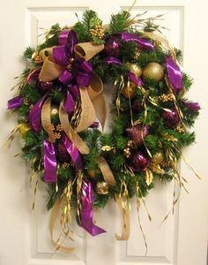 Plum Purple and Gold CHRISTMAS WREATH, Handmade Ornament Wreath, Elegant HOLIDAY Door Wreath