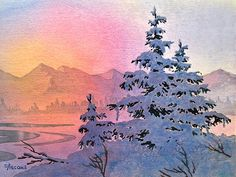 Winter Twilight. watercolor by Teresa Ascone
