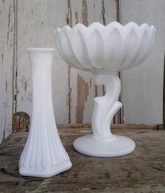 Romantic white milkglass vase set by happydayantiques on Etsy, $24.00