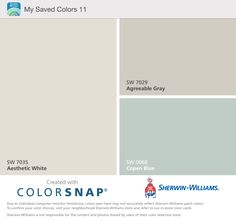 this is our color palette - asthetic white (warm) for family/living room, agreeable gray for dining room (with a slightly grayer accent wall) and copen blue for bedroom; Accent Colors for living & dining room either blue or teal/turquoise