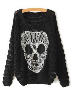 Scoop Neck Skull Pattern Long Sleeve Sweater