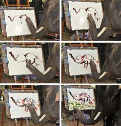 Thai Elephant Drawing Painting