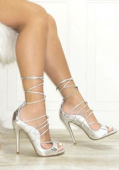 Ivy Metallic Silver Snake Lace Up Heels
