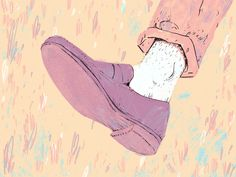 A self initiated illustration for an article in Esquire Magazine about 'ditching the socks this summer'. SamDraws.com