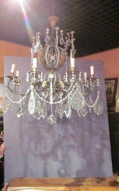 Rare lustre à importantes pampilles, XIXème siècle, Grange Antiquités, Proantic