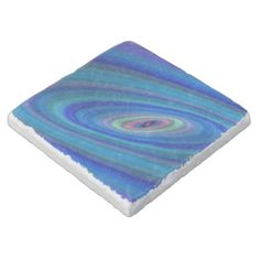 Blue space stone coaster $11.00 *** Blue abstract ellipse graphic - coaster