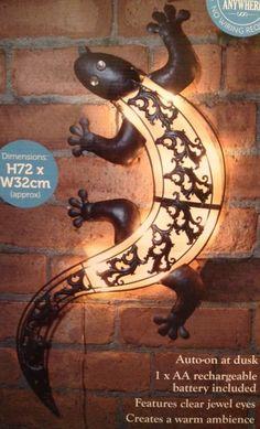 Large Garden Light Ornament -LIZARD GEKO WALL ART Light Metal Art.  Garden Light