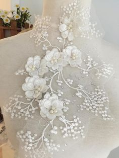 Your place to buy and sell all things handmade Zardozi Embroidery, Tambour Embroidery, White Embroidery, Embroidery Applique, Machine Embroidery Patterns, Hand Embroidery Designs, Applique Designs, Textured Wedding Cakes, Fantasy Gowns