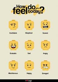 moods by LEGO face. Legos are part of geek culture, thus part of those of us who have fandom tendancies. And the Lego Movie determined that EVERYTHING IS AWESOME. in Lego Lego Therapy, Play Therapy, Speech Therapy, Social Work, Social Skills, Eclectic Kids Decor, Legos, Lego Faces, Lego Bedroom