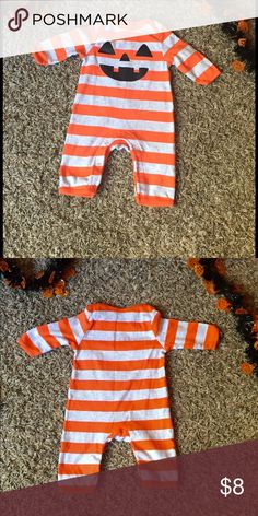 Baby Pumpkin Romper Pumpkin face romper for baby's Halloween.  Like new, worn once. Old Navy Costumes Halloween