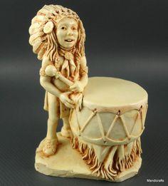 #Castagna Italy #Drummer Treasure Box Figurine Frog Native Indian Alabaster 1998