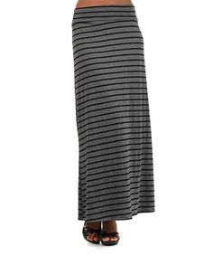Loving this Gray & Black Stripe Maxi Skirt - Plus on #zulily! #zulilyfinds