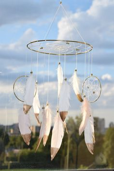 Baby  Mobile Blush and White Dreamcatcher by FeatherDreamcatchers
