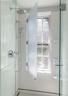 Bathroom Renovation Ideas: bathroom remodel cost, bathroom windows ideas for small bathrooms, small bathroom design ideas Upstairs Bathrooms, Master Bathroom, Attic Bathroom, Small Bathrooms, Casa Milano, Window In Shower, Window In Bathroom, Shower Doors, Narrow Bathroom
