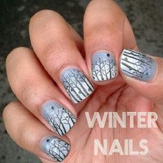 Wintery forest nail art