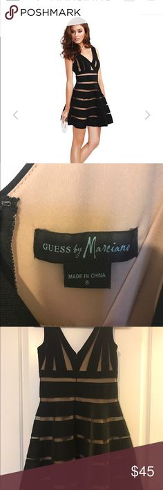 Guess by Marciano Alyssa Banded dress size 8 Fit-and-flare dress. V-neck. Sleeveless.  Allover striped pattern with sheer mesh accents. V-shaped back.  Zipper with hook-and-eye closure at back. Lined. Great condition. No trades. Guess by Marciano Dresses Mini