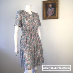 Revamped Short Sleeved, Vintage Dress with Charming Floral Print | MICHELLEPICCIONE.COM ||