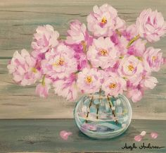 Live Acrylic Painting Lesson by Angela Anderson on YouTube Spring Flowers in a vase #rose #cherryblossom #peony #pink #gray #acrylicpaint