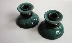 Set of Two (2) Vintage Mid Century Ceramic Blue Mountain Pottery Candle Holders Candlesticks Green and Dark Brown by slinkyvagabonds on Etsy https://www.etsy.com/listing/205581946/set-of-two-2-vintage-mid-century-ceramic