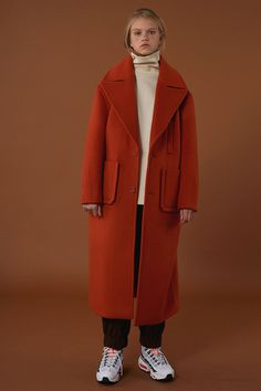 [unisex] Over size drop coat orange