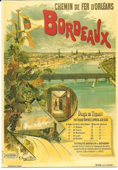 Vintage Bordeaux France French Railway Travel Poster Re-print Train Posters, Railway Posters, Tourism Poster, Poster S, Vintage Travel Posters, Vintage Ads, Ville France, Travel Cards, Old Ads