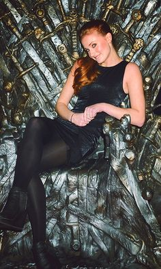 Sophie Turner on the Iron Throne