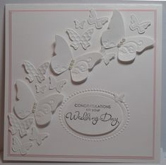 white oval & butterfly Wedding Card