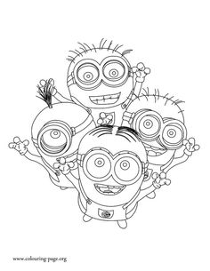 How about to print and color this amazing picture of the minions Dave, Kevin, Jerry and Phil? Have fun with this free Minions coloring sheet!