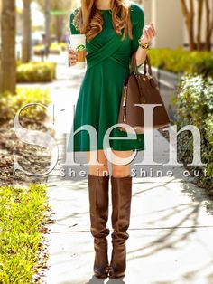 Green Long Sleeve A Line Dress 17.59