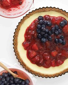 Red, White, and Blueberry Cheesecake Tart
