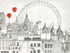 London Cityscape 8.5 x 11 print par TheVoyagers sur Etsy, $25.00