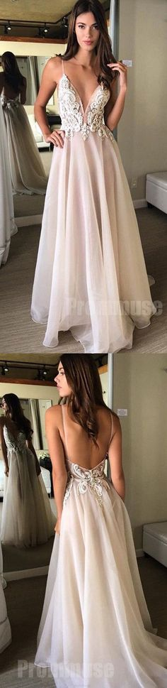 A-Line V-Neck Spaghetti Straps Backless Beads Appliques Organza Sleeveless Prom Dresses UK This dress could be custom made, there are no extra cost to do custom size and color. Wite Prom Dresses, Cheap Prom Dresses Uk, Prom Dresses 2018, Tulle Prom Dress, Pretty Dresses, Evening Dresses, Formal Dresses, Long Dresses, Dress Long