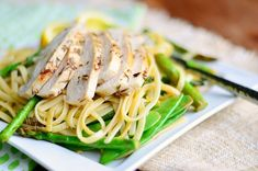 Lemon Herb Summer Linguine with Chicken, Asparagus and Snow Peas - Will Cook For Smiles