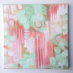 """""""GIVEAWAY REMINDER: Don't forget to enter our LOOPTYLOOP GIVEAWAY to win 15 prizes including this 12x12 inch mint and gold abstract painting of mine!!!…"""""""
