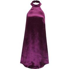 Fuchsia Halter Low Back Metallic Dress ($24) ❤ liked on Polyvore featuring dresses, halter top, halter-neck dress, low back cocktail dress, purple cocktail dresses and halter dress