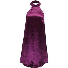 Fuchsia Halter Low Back Metallic Dress (€23) ❤ liked on Polyvore featuring dresses, purple, short dresses, vestidos, fuschia dress, halter cocktail dress, halter top, purple mini dress and short halter dress