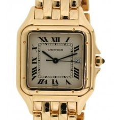 Pre-owned Cartier Pantehere Gold Dial Ladies Watch 1100 Stainless Steel Bracelet, Stainless Steel Case, Gold Watch, Sapphire, Quartz, Watches, Crystals, Luxury, Lady