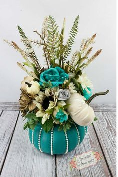 2018 August Wreath Creations from the Trendy Tree Custom Designer List - Trendy . Pumpkin Table Decorations, Pumpkin Centerpieces, Decoration Table, Pumpkin Decorating, Holiday Decorations, Sunflower Centerpieces, Teal Pumpkin, Pumpkin Pumpkin, Fall Floral Arrangements