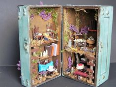 Box fairy house. Charming gift, fairy garden, fairy dollhouse, fairy furniture, miniature furniture, indoor garden. Fairy display.