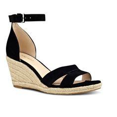 Women's Nine West Jabrina Wedge Sandal (260 BRL) ❤ liked on Polyvore featuring shoes, sandals, black suede, black sandals, ankle strap sandals, black wedge shoes, leather sandals and espadrille sandals