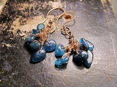Kyanite Earrings. Rustic Aqua Blue kyanite by MADAMBLUEONE on Etsy, $18.00