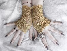 Items similar to Eiryn Lace Fingerless Gloves - Gold Mustard Yellow Floral Fishnet - Victorian Wedding Gothic Vampire Fetish Belly Dance Goth Bohemian Bridal on Etsy Steampunk Belle, Gothic Vampire, Coffee Design, Belly Dance, Fishnet, Mustard Yellow, Fingerless Gloves, Arm Warmers, Bohemian