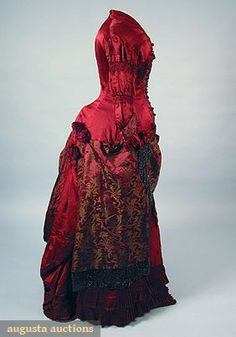 SATIN & BROCADE BUSTLE DRESS, 1870s New Hope, PA 1-piece claret satin w/ brown brocade, beaded net & fringed trim & beaded buttons (few losses to buttons), lined in glazed cotton